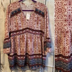 SUZANNE BETRO WOMEN PLUS TOP NWT 1X PINK BLUE